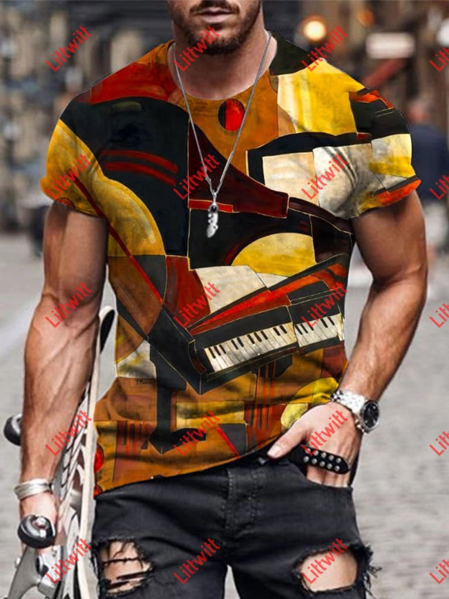 Mens Creative Abstract Piano Art Print Short Sleeve Crew Neck T-Shirt As Pic / S