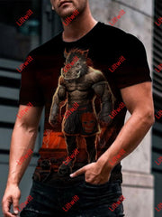 Mens War Boar Warrior Art Round Neck Print T-Shirt As Pic / S
