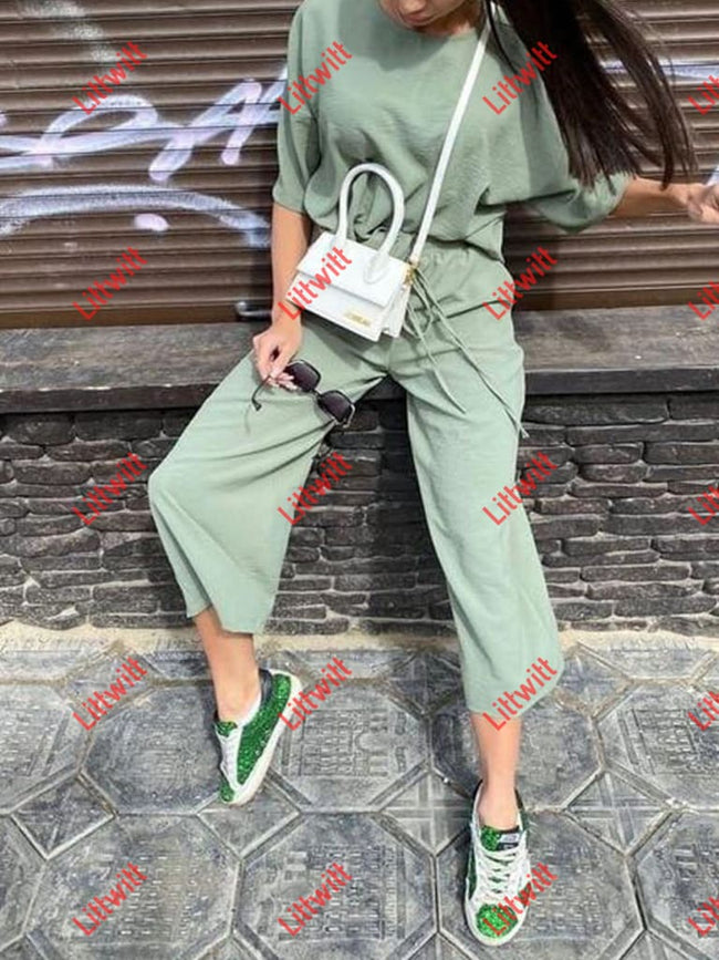Casual Fashion Loose Wide Leg Pants Short Sleeves Suit Green / S