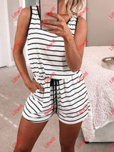 Striped Printed Sleeveless Romper