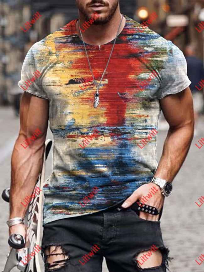 Mens Fashion Crimson Tide Art Print Short Sleeve Crew Neck T-Shirt As Pic / S