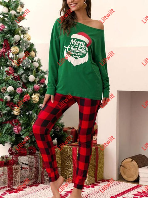Casual Plaid Pants Christmas Print Suit Green / S