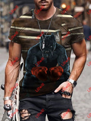 Mens Boxing Dog Warrior Art Round Neck Print T-Shirt As Pic / S