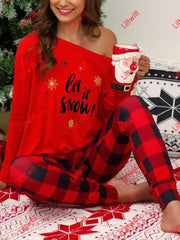 Casual Plaid Pants Christmas Print Suit Red / S