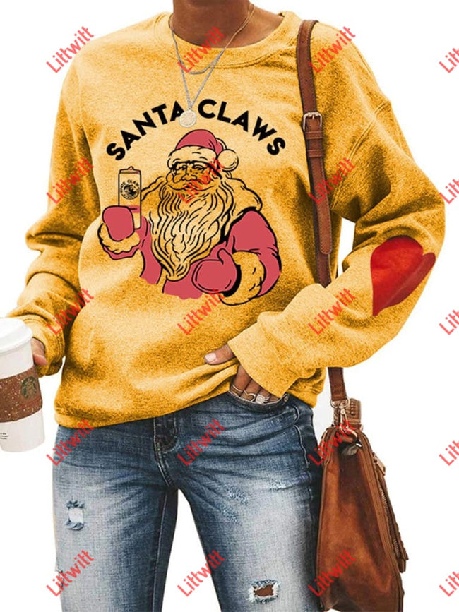 Santa Claws Love Sweatshirt Yellow / S