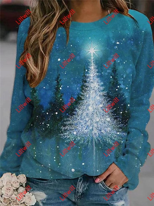 Lonely Christmas Tree Printed Sweatshirt