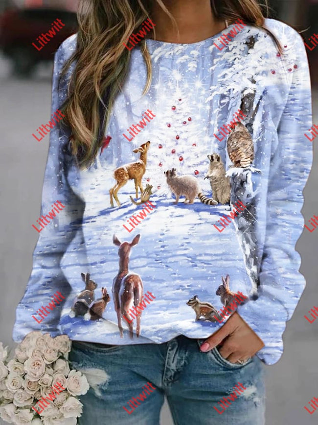 Christmas Deer Printed Sweatshirt As Pic / S