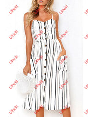 Sleeveless Striped Spaghetti Strap Single Breasted Dress Dresses