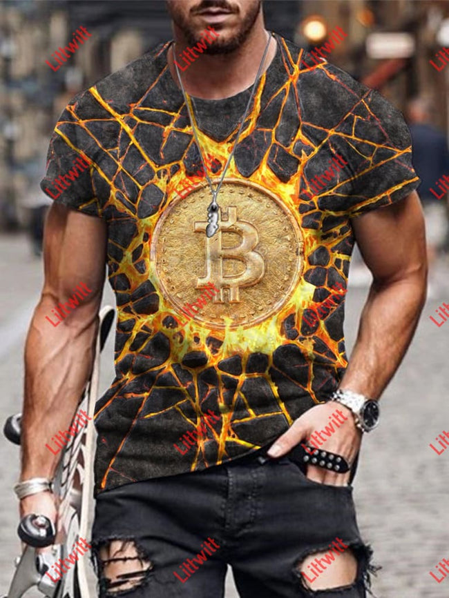 Mens Fashion Virtual Currency Bitcoin Art Print Short Sleeve Crew Neck T-Shirt As Pic / S