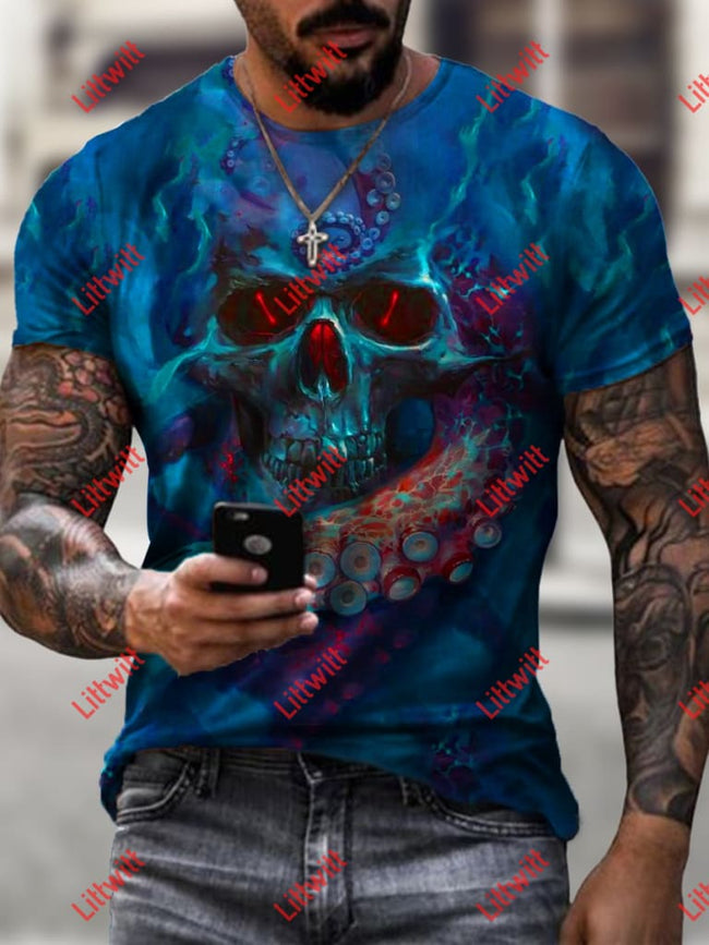 Mens Mythic Octopus Skull Art Print Crew Neck T-Shirt As Pic / S