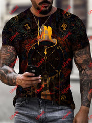 Mens Fashion Tarot Of Wheel Art Print Short Sleeve Crew Neck T-Shirt As Pic / S