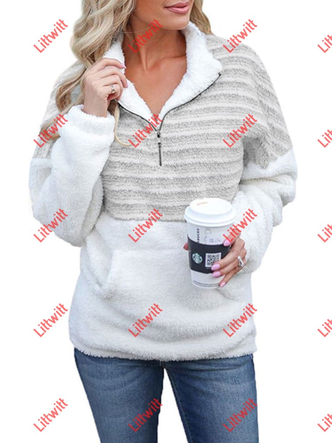 V-Neck Zipper Long-Sleeved Colorblock Sweatshirt Grey / S