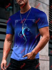 Mens Fashion Ace Of Diamonds Blue Art Print Short Sleeve Crew Neck T-Shirt As Pic / S