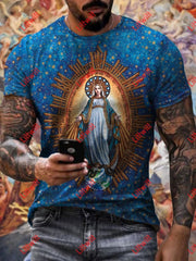 Mens Virgin Mary Casual T-Shirt As Pic / S