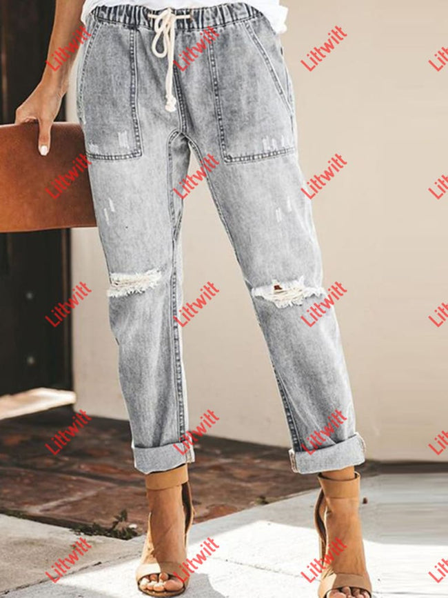 Straight Hollow Out Lace-Up Jeans