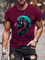 Mens Creative Truth Or Dare Question Mark Skull Art Print Short Sleeve Round Neck T-Shirt As Pic / S