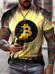 Mens Creative Virtual Currency Bitcoin Art Print Short Sleeve Crew Neck T-Shirt As Pic / S