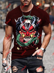 Mens Creative Janpanese Hannya Mask Red Art Print Crew Neck Short Sleeve T-Shirt As Pic / S
