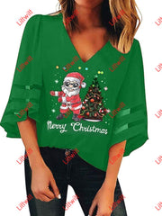 Merry Christmas V-Neck Mesh Pagoda Sleeve Blouse Green / S
