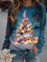 Christmas Tree With Lights Printed Sweatshirt Blue / S