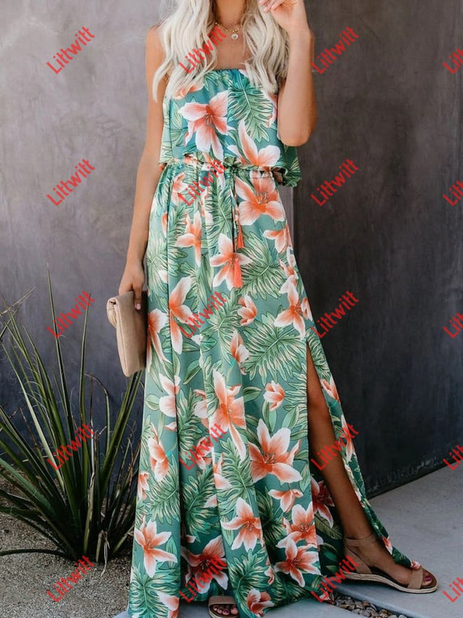 Tropical Rain Forest Split Dress Green / M