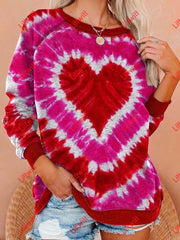 Valentines Day Love Tie Dye Casual Print Sweatshirt As Pic / S