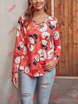Christmas Long Sleeved V-Neck All Match T-Shirt Snowman / S