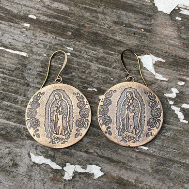 Virgencita discs earrings