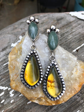 Diosa Poderosa Amber & Jade Earrings