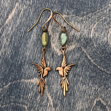 Bronze Flying Macaw earrings with turquoise