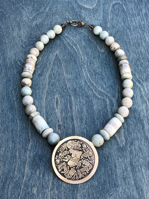 Coyolxauhqui large pendant with jasper necklace