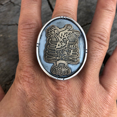 Mayahuel etched brass. silver ring