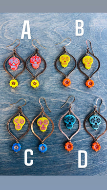 Calaveras with BRONZE Hoop earrings