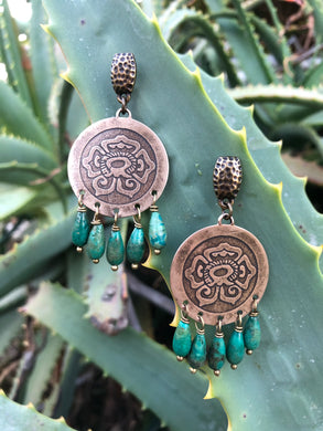 Bronze Xóchitl & turquoise Earrings