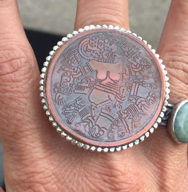 RESERVED~ Coyolxauhqui copper ring with silver band