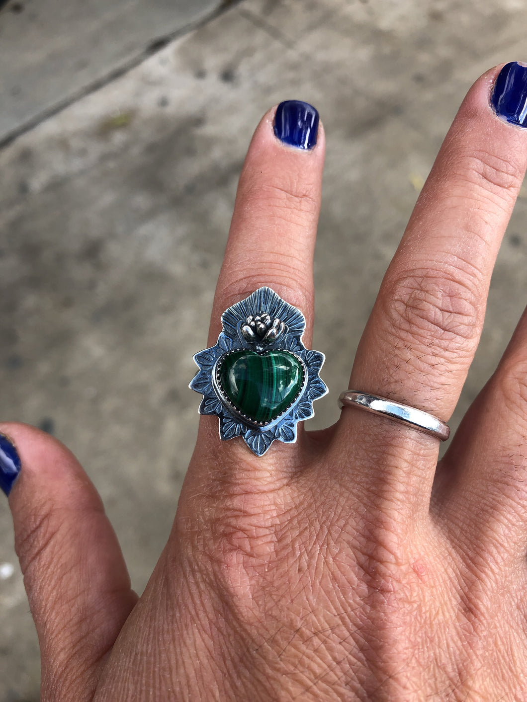 Malachite Sacred Heart Ring size 8.75