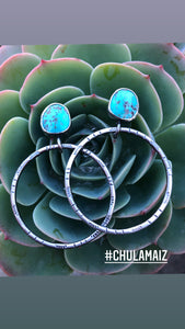 RESERVED turquoise hoops