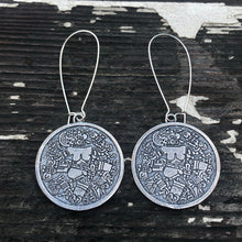 Load image into Gallery viewer, Coyolxauhqui disc earrings
