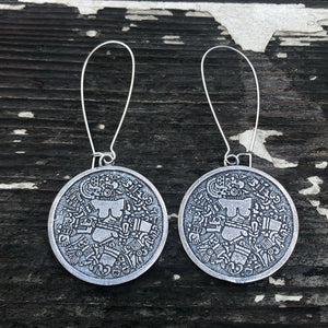 Coyolxauhqui disc earrings