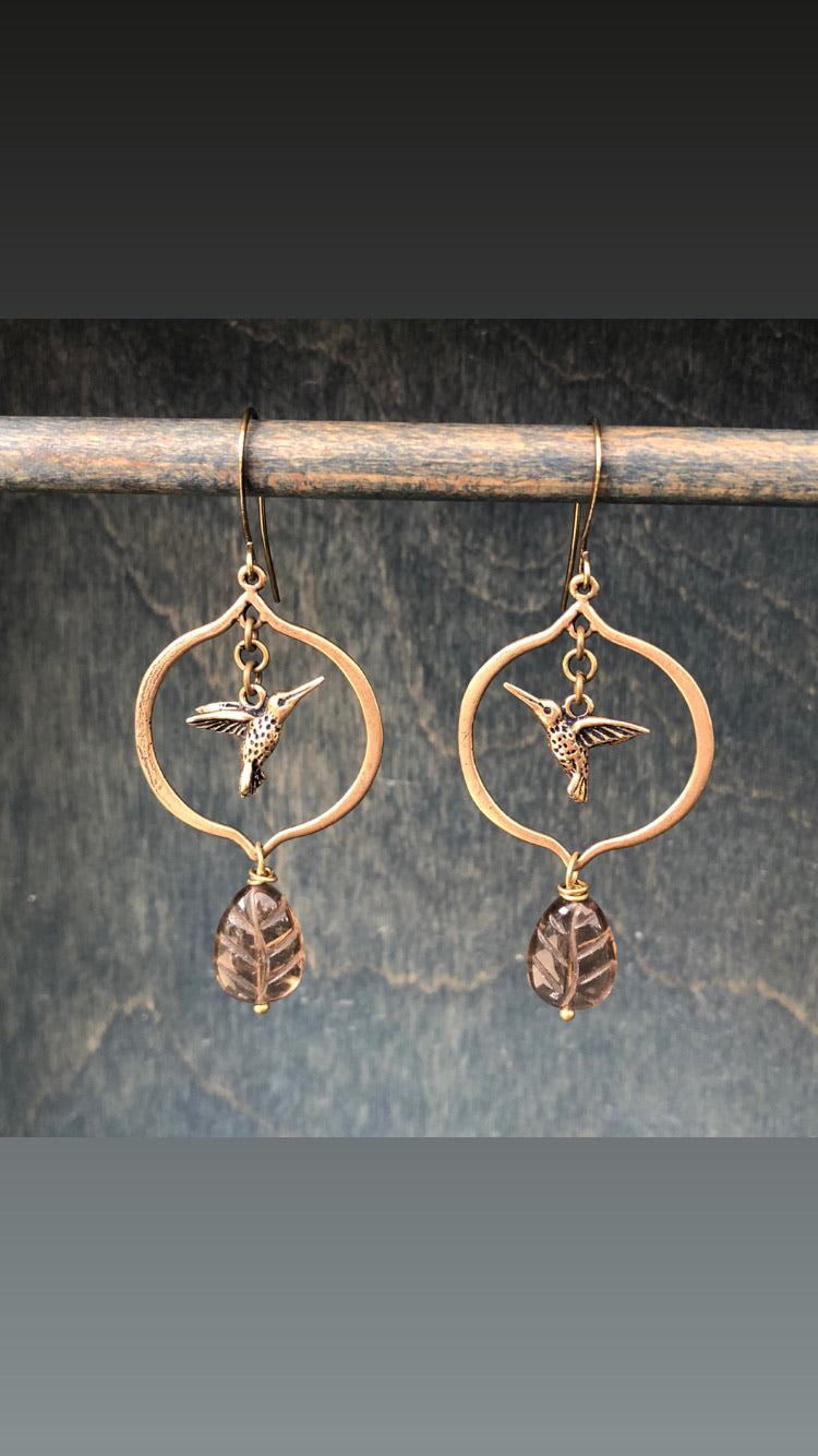 Hummingbirds with carved Smokey Quartz earrings