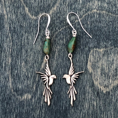 Flying Macaw earrings with turquoise