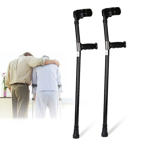 A Pair Aluminum Alloy Adjustable Walking Aid Forearm Crutches