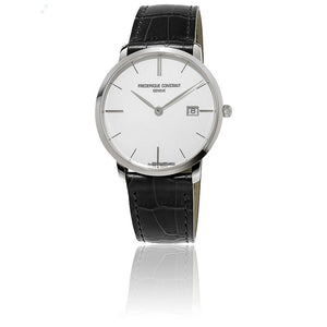 Slimline Silver Dial Men's Watch Leather Strap