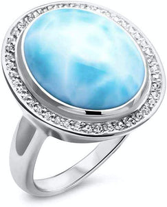 Clarity Oval Larimar Ring with White Sapphire