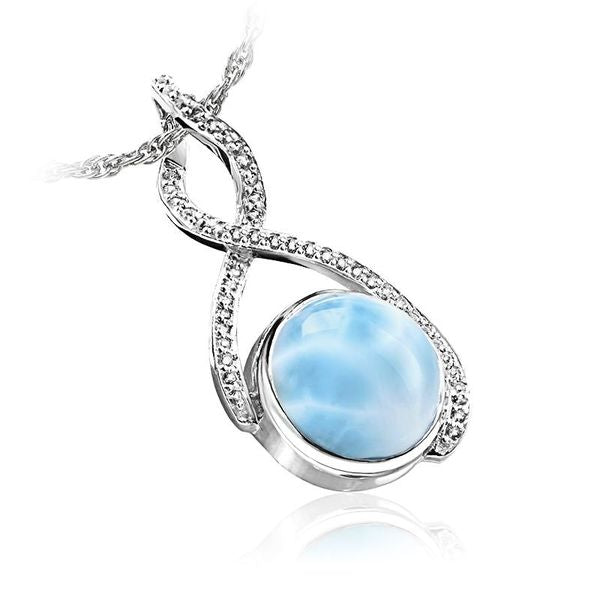 Adella Larimar Pendant / Necklace With White Sapphires