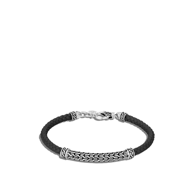 Classic Chain Station Bracelet with Leather