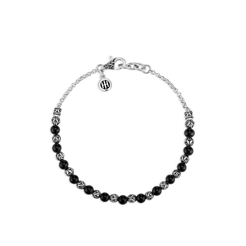 Classic Chain 4mm Black Onyx Bead Bracelet