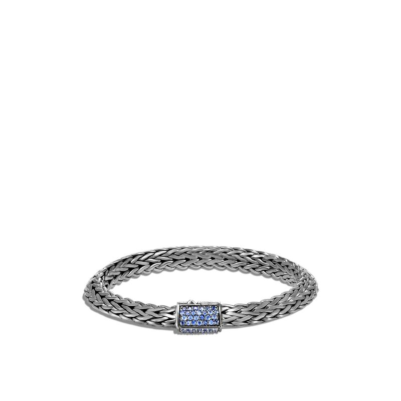Tiga Chain Blackened Bracelet with Blue Sapphire