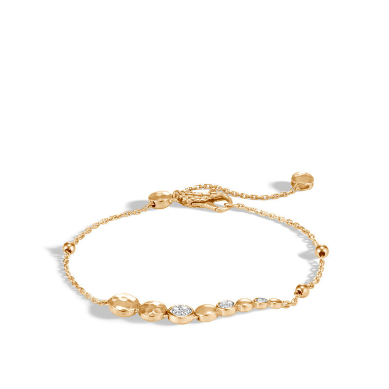 Hammered Pull Through Bracelet with Diamonds