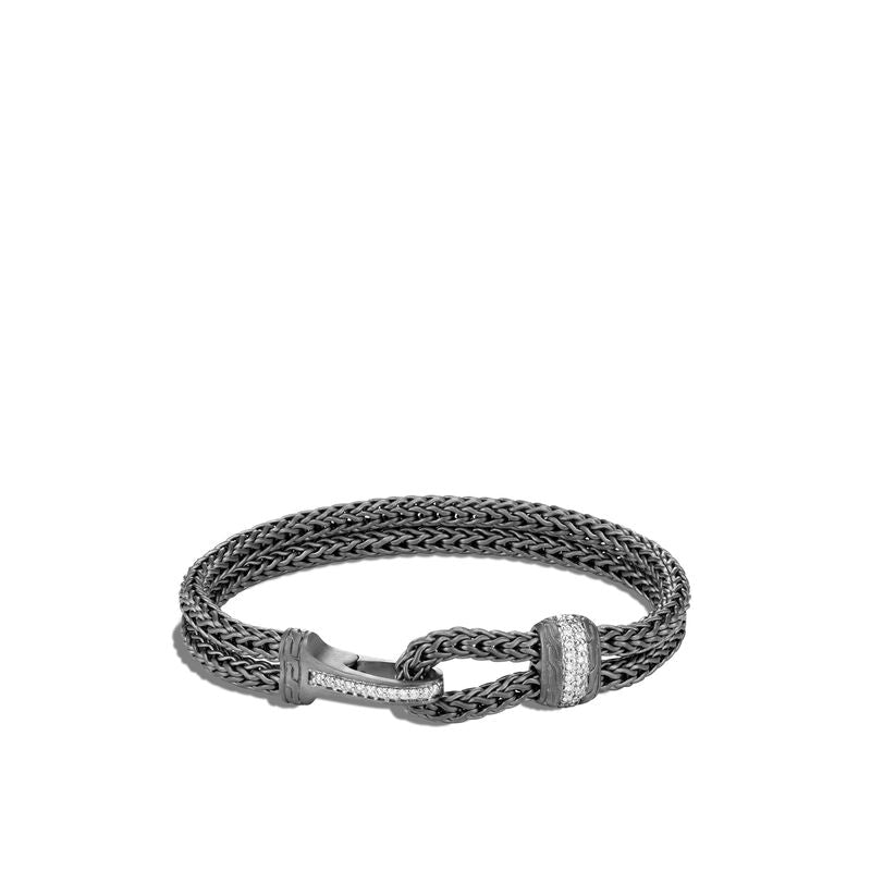 Classic Chain Blackened Hook Clasp Bracelet, Dia
